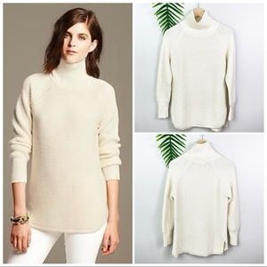 BR Waffle Knit Cocoon Turtleneck Tunic Sweater